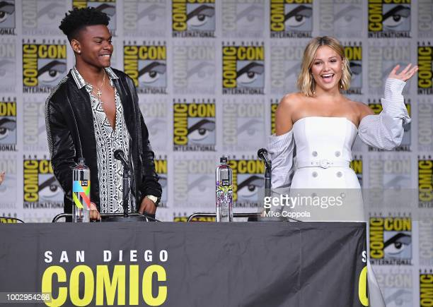 Aubrey Joseph and Olivia Holt speak onstage at Marvel Television Marvel's Cloak Dagger panel during ComicCon International 2018 at San Diego...