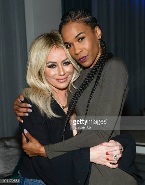Aubrey O'Day and Michelle Williams attend Steven Grossman's 40th birthday party hosted by The IE Group at STK Los Angeles on February 24, 2018 in Los...