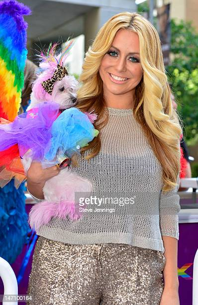 "Aubrey O'Day appears on the Virgin America ""Ride With Pride"" Float at the San Francisco Gay Pride Parade on June 24, 2012 in San Francisco,..."