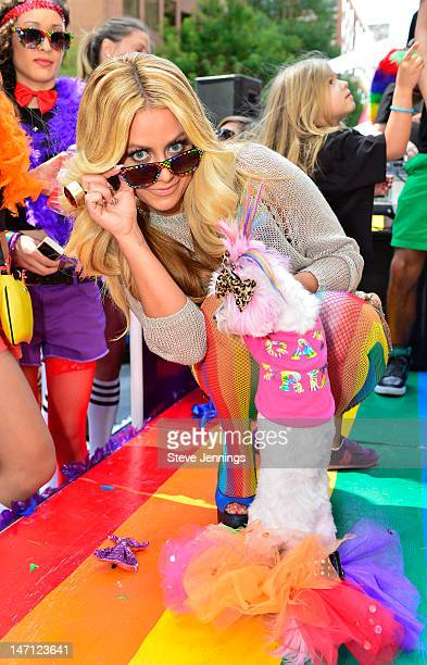 "Aubrey O'Day appears on the Virgin America ""Ride With Pride"" Float at the Gay Pride Parade on June 24, 2012 in San Francisco, California."