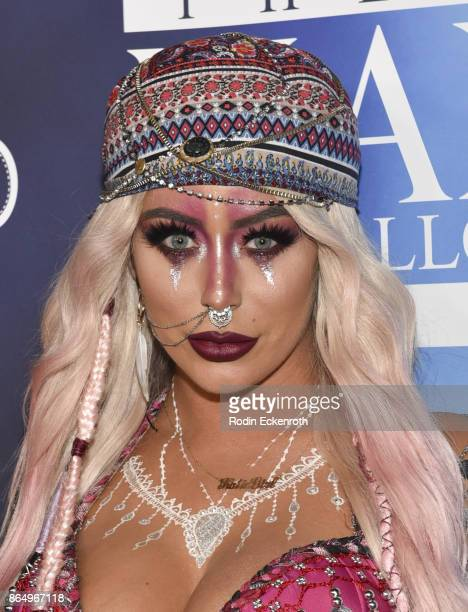 Aubrey O'Day arrives at the 2017 MAXIM Halloween Party at LA Center Studios on October 21, 2017 in Los Angeles, California.