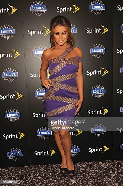 Aubrey O'Day arrives at the NASCAR SPRINT Cup party at Lavo at the Palazzo on December 4, 2009 in Las Vegas, Nevada.