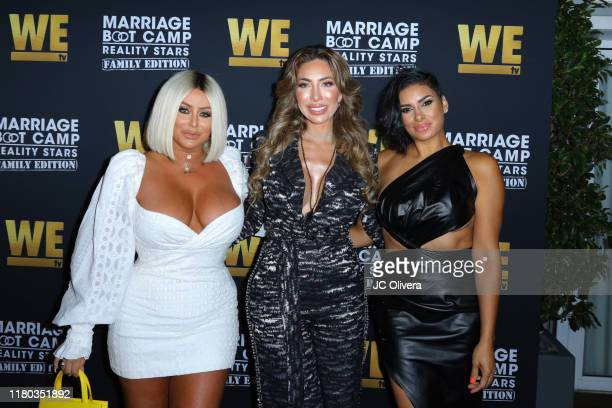 Aubrey O'Day, Farrah Abraham and Laura Govan attend WE tv celebrates the premiere of 'Marriage Boot Camp' at SkyBar at the Mondrian Los Angeles on...