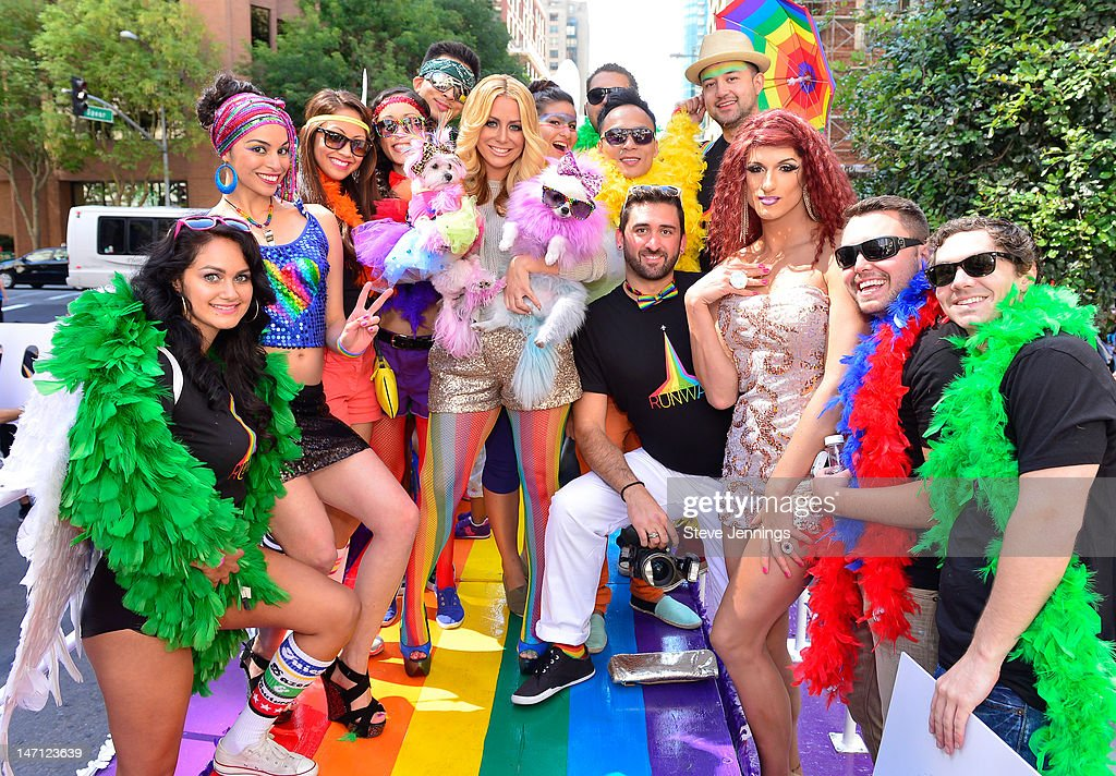 """Aubrey O'Day Appears On The """"Ride With Pride"""" Float At San Francisco Gay Pride Pride Parade : News Photo"""