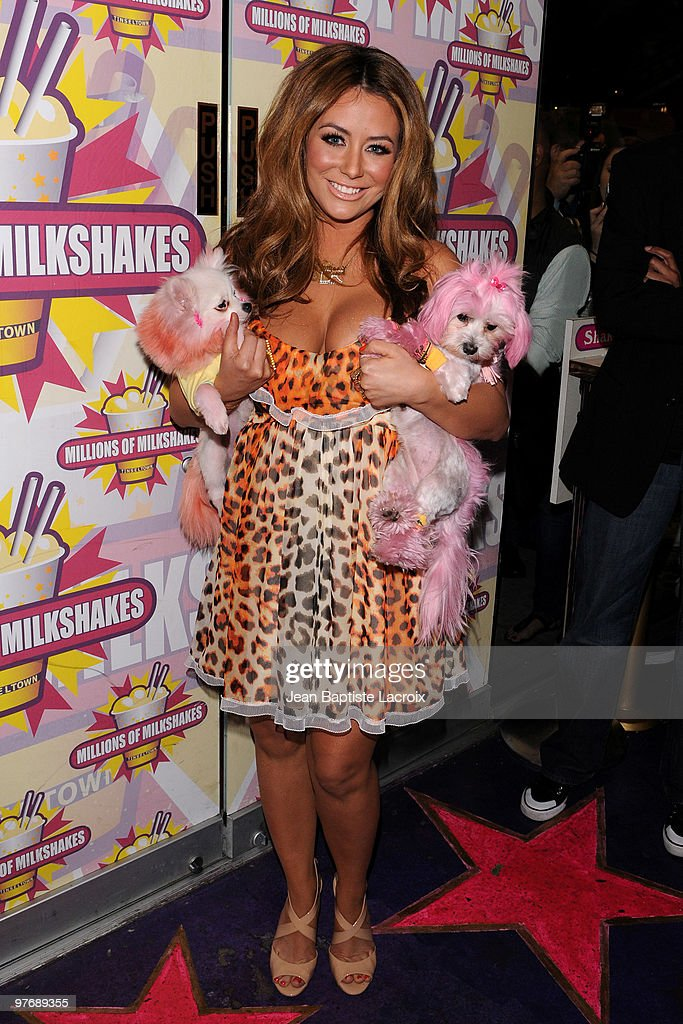 Aubrey O'Day visits Millions of Milkshakes to create her own shake on March 13, 2010 in West Hollywood, California.