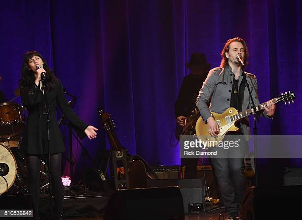 Aubrey Peeples and Jonathan Jackson perform during Nashville for Africa a Benefit for the African Childrens Choir at the Ryman Auditorium on February...