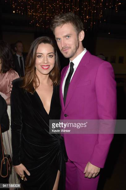 Aubrey Plaza and Dan Stevens attend the premiere of FX's 'Legion' Season 2 at DGA Theater on April 2 2018 in Los Angeles California