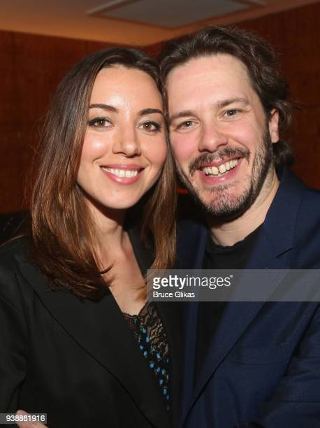 Aubrey Plaza and Edgar Wright pose at the opening night after party for the play 'Lobby Hero' on Broadway at Bryant Park Grill on March 26 2018 in...