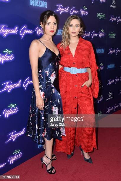 Aubrey Plaza and Elizabeth Olsen attend Neon hosts the New York premiere of Ingrid Goes West at Alamo Drafthouse Cinema on August 8 2017 in New York...