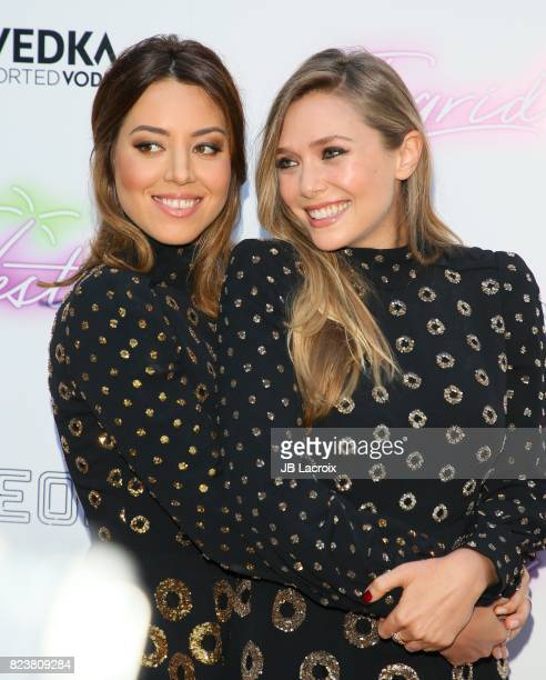 Aubrey Plaza and Elizabeth Olsen attend the premiere of Neon's 'Ingrid Goes West' on July 257 2017 in Hollywood California