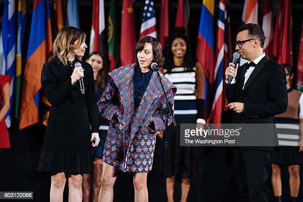 Aubrey Plaza at the Opening Ceremony SS17 fashion show a starstudded town hallstyle affair that highlighted social issues along with the clothes at...