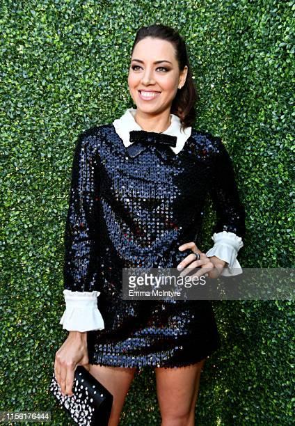 Aubrey Plaza attends the 2019 MTV Movie and TV Awards at Barker Hangar on June 15, 2019 in Santa Monica, California.