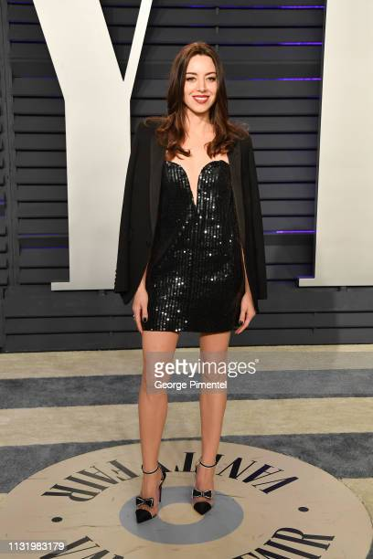 Aubrey Plaza attends the 2019 Vanity Fair Oscar Party hosted by Radhika Jones at Wallis Annenberg Center for the Performing Arts on February 24, 2019...