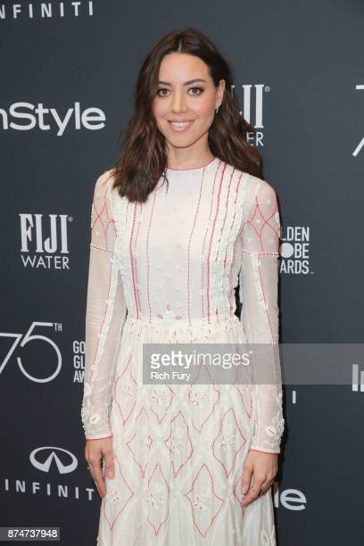 Aubrey Plaza attends the Hollywood Foreign Press Association and InStyle celebrate the 75th Anniversary of The Golden Globe Awards at Catch LA on...