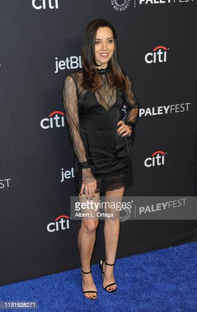 Aubrey Plaza attends The Paley Center For Media's 2019 PaleyFest LA Parks And Recreation 10th Anniversary Reunion held at Dolby Theatre on March 21...