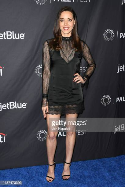 Aubrey Plaza attends The Paley Center For Media's 2019 PaleyFest LA Parks And Recreation 10th Anniversary Reunion at Dolby Theatre on March 21 2019...