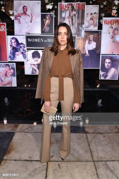 Aubrey Plaza attends Vanity Fair and Lancome Paris Toast Women in Hollywood hosted by Radhika Jones and Ava DuVernay on March 1 2018 in West...