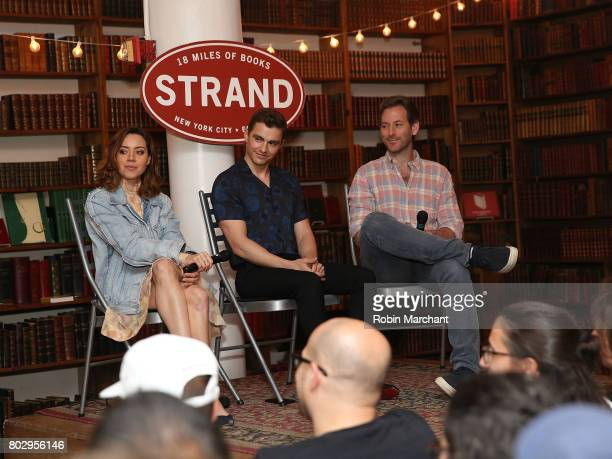 Aubrey Plaza Dave Franco and Jeff Baena attend 'Little Hours' In Store Reading at Strand Bookstore on June 28 2017 in New York City