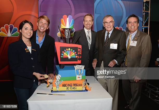 Aubrey Plaza Jack McBrayer Robert Greenblatt Peter Marshall and Bill Connor attend NBC's 80th Page Program Anniversary Celebration at Universal...