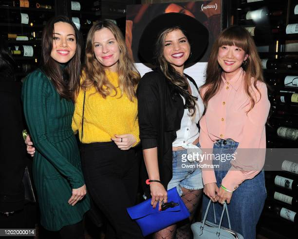 Aubrey Plaza Lindsay Burdge Paola Lazaro and Jennifer Kim attend a private dinner during Sundance for Blackbear hosted by RAND Luxury at The St Regis...
