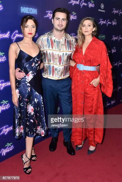 Aubrey Plaza Matt Spicer and Elizabeth Olsen attend Neon hosts the New York premiere of Ingrid Goes West at Alamo Drafthouse Cinema on August 8 2017...