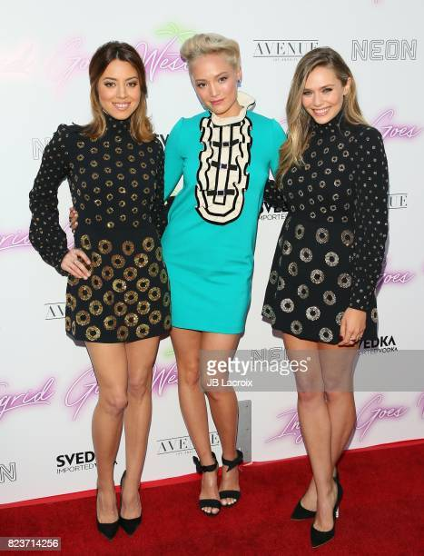 Aubrey Plaza Pom Klementieff and Elizabeth Olsen attend the premiere of Neon's 'Ingrid Goes West' on July 257 2017 in Hollywood California