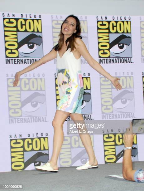 Aubrey Plaza walks onstage at the 'Legion' discussion and QA during ComicCon International 2018 at San Diego Convention Center on July 22 2018 in San...