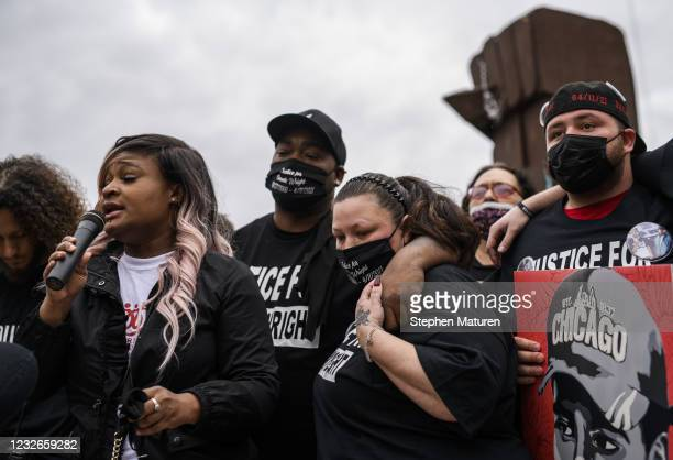 Aubrey Wright and Katie Wright gather at a memorial for their son, Daunte Wright, on May 2, 2021 in Brooklyn Center, Minnesota. Twenty-year-old...