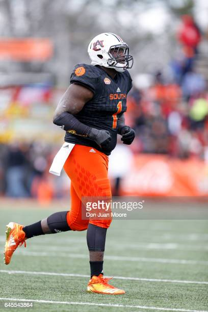 Auburn Defensive Tackle Montravius Adams of the South Team during the 2017 Resse's Senior Bowl at LaddPeebles Stadium on January 28 2017 in Mobile...