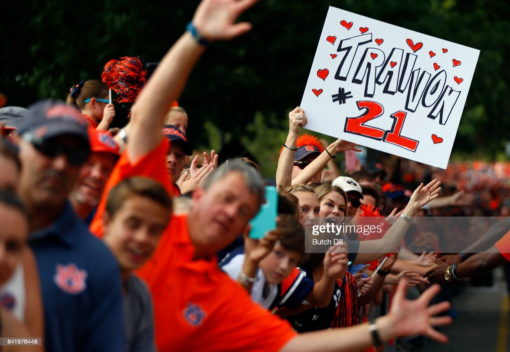 Auburn fans greet players as they walk to the stadium during Tiger Walk before the start of an NCAA college football game against the Georgia Southern Eagles at Jordan Hare Stadium on Saturday, September 2, 2017 in Auburn, Alabama.