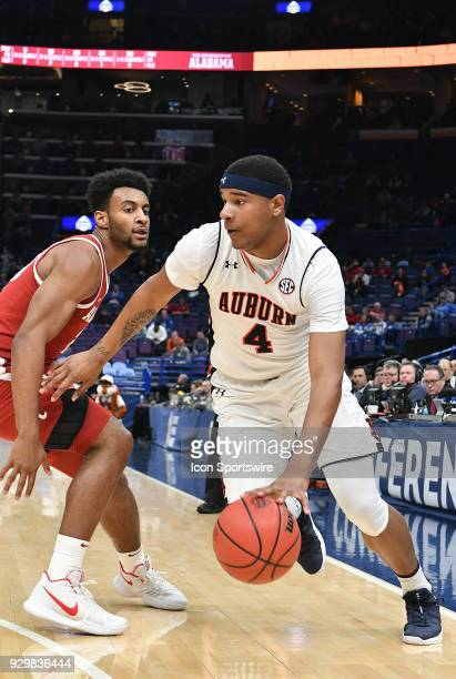 Auburn forward Chuma Okeke drives to the basket during a Southeastern Conference Basketball Tournament game between Auburn and Alabama on March 09 at...