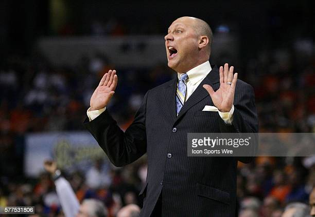 Auburn Head Coach Jeff Lebo reacts to a call during the SEC Basketball Tournament game between Florida Gators and the Auburn Tigers at the St Pete...