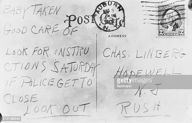 Postcard Mailed to Lindbergh From Auburn New York the postcard mailed in this city yesterday March third addressed to 'Charles Lindbergh Hopewell New...