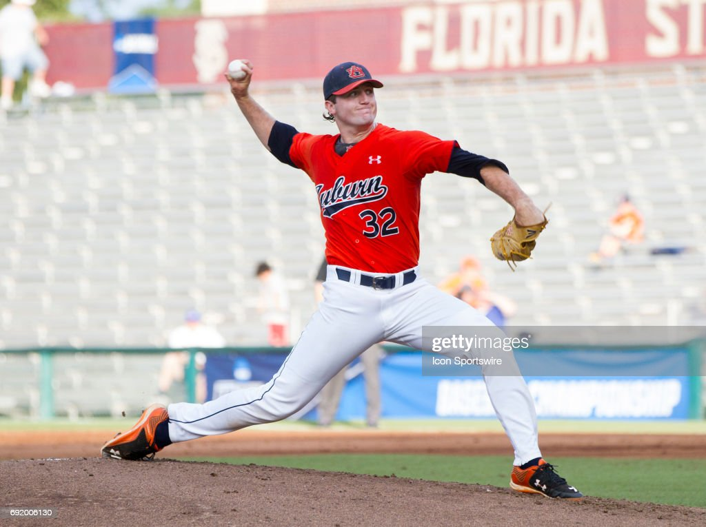 Auburn starting pitcher Casey Mize (32) pitches during the game between the Tennessee Tech Golden Eagles and the Auburn Tigers at Dick Howser Stadium on Saturday, June 3rd, in Tallahassee, Florida.