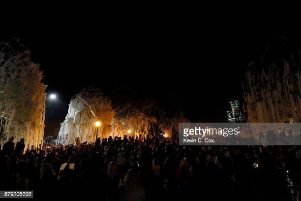 Auburn Tigers fans celebrate at Toomer's Corner after the Iron Bowl victory over the Alabama Crimson Tide at Jordan Hare Stadium on November 25 2017...
