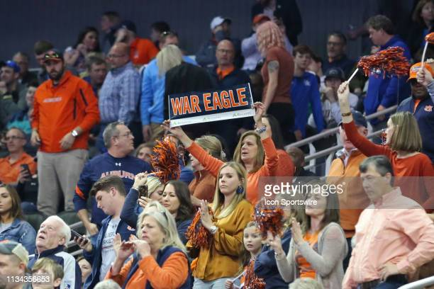 Auburn Tigers fans hold up a War Eagle sign during the NCAA Midwest Regional Final game between the Auburn Tigers and Kentucky Wildcats on March 31...