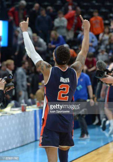 Auburn Tigers guard Bryce Brown celebrates after a game between the Baylor Bears and the Gonzaga Bulldogs on March 23 2019 at Vivint Smart Smart Home...