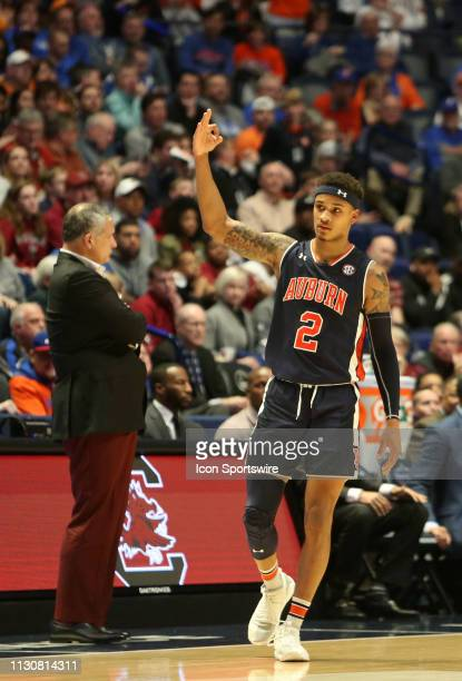 Auburn Tigers guard Bryce Brown celebrates hitting a 3pointer during a Southeastern Conference Tournament game between the South Carolina Gamecock...