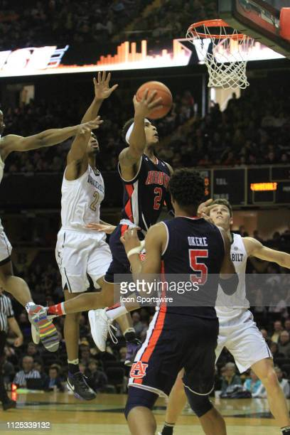 Auburn Tigers guard Bryce Brown drives for a layup during a game between the Vanderbilt Commodores and Auburn Tigers February 16 2019 at Memorial Gym...