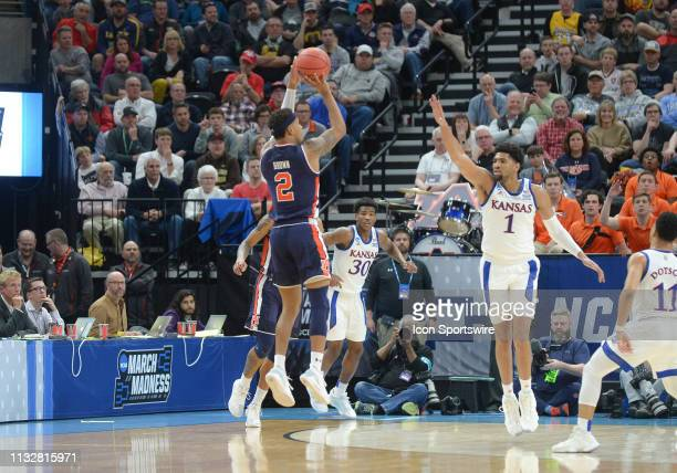 Auburn Tigers guard Bryce Brown shoots during a game between the Auburn Tigers and the Kansas Jayhawks on March 23 2019 at Vivint Smart Smart Home...