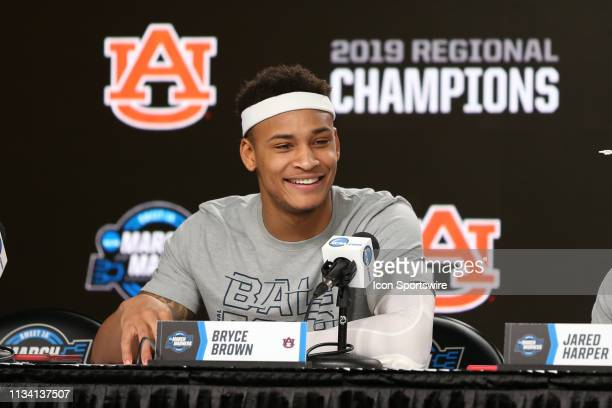 Auburn Tigers guard Bryce Brown smiles in the postgame press conference after his Tigers defeated the Kentucky Wildcats 7771 in the NCAA Midwest...