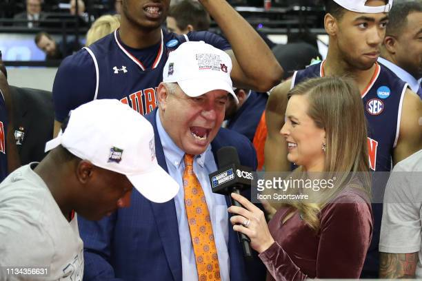 Auburn Tigers head coach Bruce Pearl is interviewed by TBS's Jamie Erdahl after winning the NCAA Midwest Regional Final game over the Kentucky...