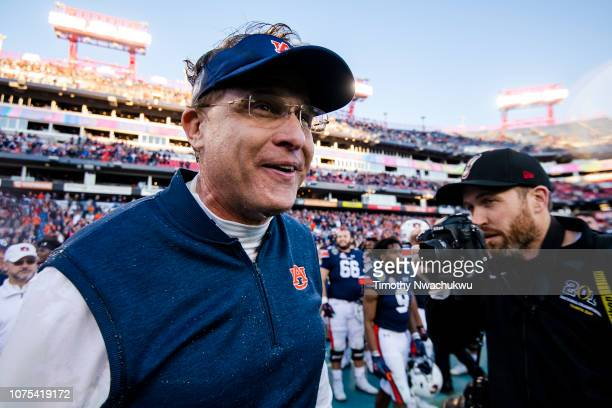 Auburn Tigers head coach Gus Malzahn reacts after the Tigers defeated the Purdue Boilermakers at Nissan Stadium on December 28 2018 in Nashville...