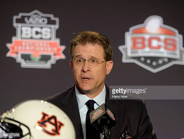 Auburn Tigers Head Coach Gus Malzahn speaks to media during a Vizio BCS National Championship press conference at the Newport Beach Marriot Hotel and...
