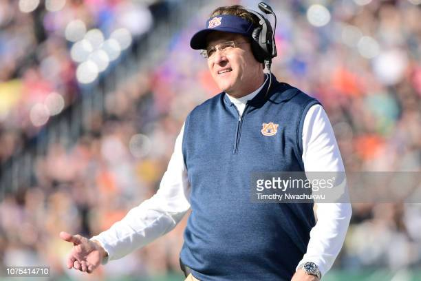 Auburn Tigers head Gus Malzahn looks on against the Purdue Boilermakers during the first half at Nissan Stadium on December 28 2018 in Nashville...