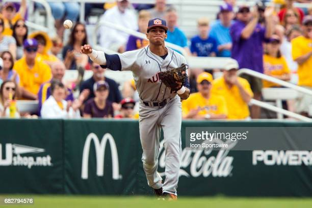 Auburn Tigers infielder Will Holland fields a ball during a baseball game between the Auburn Tigers and the LSU Tigers on May 13 2017 at Alex Box...