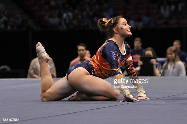 Auburn Tigers Katie Becker performs her floor exercise at the Elevate the Stage Meet between the Auburn Tigers and the Alabama Crimson Tide Alabama...