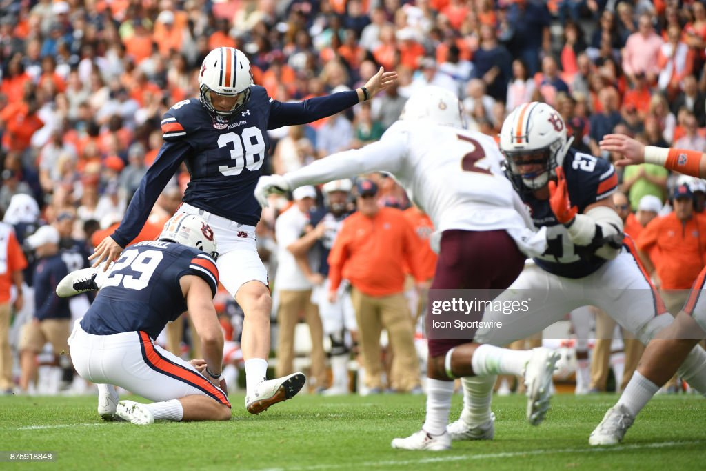 Auburn Tigers place kicker Daniel Carlson (38) kicks the PAT to put Auburn up 7-0 early in the first quarter of a football game between the Auburn Tigers and the ULM Warhawks on Saturday, November 18, 2017 at Jordan-Hare Stadium in Auburn, Ala.