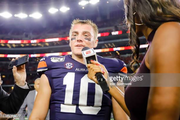 Auburn Tigers quarterback Bo Nix does an interview with ESPN sideline reporter Maria Taylor after the game between the Oregon Ducks and the Auburn...