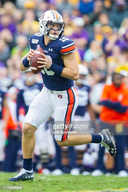 Auburn Tigers quarterback Bo Nix drops back for a pass during a game between the LSU Tigers and the Auburn Tigers in Tiger Stadium in Baton Rouge...